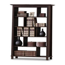 Baxton Studio 56.3 in. Havana Brown Wooden Bookcase - Made to offer functional style to any room, the Baxton Studios 56.3 in. Havana Brown Wooden Bookcase provides a contemporary look, with a see through design. Multiple shelves divided into individual cubbies are perfect for organizing and displaying in the home or office. This bookcase is made of engineered wood and given a rich, dark brown finish that complements almost any decor setting.About Baxton StudiosThis item is designed and manufactured by Wholesale Interiors, Inc., a furniture company based near Chicago. A lot goes into the making of furniture, and it all starts with attention to details. They hand select their unique line of leather and micro-fiber fabrics. Their furniture is padded with high polyurethane foam to create the body contouring comfort and support for which Baxton Studios is famous. All frames are constructed of high quality wood or steel on select models, providing sturdy frame construction that exceeds industry standards. Wholesale Interiors, Inc. is committed to constantly providing stylish and unique furniture for the best value to help you create a comfortable living space with ease and confidence.