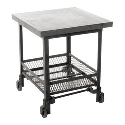 Kathy Kuo Home - Urban Mercantile Galvanized Steel Industrial Side Table - Tough but somehow still adorable, this end table looks like it spent a previous life holding tools and gear in a machinist's shop. Now it's ready to work for you. With its galvanized steel top and iron mesh basket, this side table will give your modern living room style and storage. Also perfect for a industrial loft's home office.