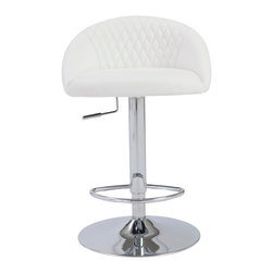 Eurostyle - Sinue Adjustable Bar/Counter Stool-Wht/Chrm - Leatherette seat and back over foam