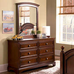 Lea Industries - Lea Elite Covington 6 Drawer Dresser w/ Mirror in Warm Cherry - The Covington Collection by Lea is a timeless collection that is perfect for your child's room. This traditional youth collection is characterized by weighty drawer fronts, casual hardware, finessed lines, and a classic Cherry color finish. The Covington Collection is crafted from hand selected cherry veneers, solid hardwood and wood products. Many storage options are available with the Covington Collection that makes it a great fit for any space. The Covington Collection includes a panel bed, bunk bed, unique bunk bed bookcase, underbed storage options, dresser, nightstand and desk. With traditional styling and a casual finish the Covington Collection is a great fit for boys and girls of all ages! With roots that stretch all the way back to 1869, Lea Industries has been adding its signature style and design to homes around the United States for more than a century. Children's furniture makes up the cornerstone of this topnotch manufacturer's lineup, and Lea has always managed to produce functional, modern - yet sophisticated - furniture for children. Furniture that bears the Lea name is always high quality, versatile and attractive. - 145-261-030.  Product features: Belongs to Covington Collection; Dresser; Traditional Styling; 6 Drawers; Nickel Insert Knob Hardware; Drawers Feature Full Extension Metal Drawer Guides with Steel Ball Bearings; Sturdy Design with Thick Tops and Drawer Fronts; Many Options for Sleep, Study and Storage; Arched Mirror Shape; Cherry veneers and solid hardwood; Warm Cherry Finish. Product includes: Dresser (1); Mirror (1). 6 Drawer Dresser w/ Mirror in Warm Cherry belongs to Covington Collection by Lea.