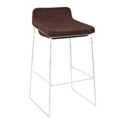 "LexMod - Garner Bar Stool in Brown - Garner Bar Stool in Brown - Benefit from the comfort of a lounge chair in this barstool made to please. Garner features a chrome plated aluminum frame and generously padded foam seat with upholstered fabric to keep you coming back for more. The deep-seated design and supportive backrest make this a modern piece that both looks and feels great. Garner also comes with a well-positioned footrest to help prevent slouching. Set Includes: One - Garner Bar Stool Modern barstool, Chrome plated steel frame, Foam seat upholstered in fabric, Built-in footrest, Assembly required Overall Product Dimensions: 19""L x 19""W x 34.5""H Seat Dimensions: 17""W x 29""H Footrest Height: 11""HBACKrest Height: 6""H - Mid Century Modern Furniture."