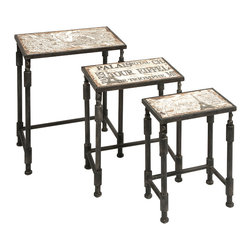 French Inspired Nesting Tables Set of 3 - *Great for entertaining on a whim, this set of three Knoxlin nesting tables feature aged French inspired designs.