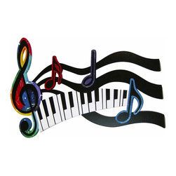 Alisa Diva - Rhythmic Musical Score Handmade Wooden Wall Sculpture - If you have rhythm, with or without talent, you'll love the Rhythmic Musical Score Handmade Wooden Wall Sculpture. It's a frolicking musical staff drifting above the ivory and black keys that creates a very uplifting piece of wall art. The placement of this decor is not limited to a music room for the added bit of color will invite other artwork to join it. The size itself will create music in your home or business and just think - it's an American made wall hanging that is custom made for you.