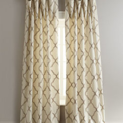 """Legacy Home - Legacy Home """"Elysian"""" Curtains - Perhaps a Moroccan tile pattern was the inspiration for these pretty embroidered curtains in your choice of Mocha (ivory/brown), Grotto (ivory/blue), or Mineral (blue/brown). By Legacy Home. Select color when ordering. Curtains have rod pockets. So..."""