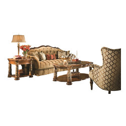 """AICO Furniture - """"Michael Amini"""" Villa Valencia 3PC Coffee Table Set - Creatively inspired by the rich heritage of the City of Valencia, known as the 'Vienna of Spain', this set in Classic Chestnut is beautifully constructed by skilled craftsmen and artisans from birch solids, cherry, pecan veneers and elm burl."""
