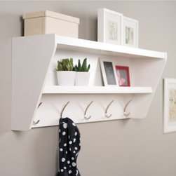 Floating Entryway Shelf & Coat Rack - White - Big storage needs in a small space are no problem for the Floating Entryway Shelf & Coat Rack - White. This brawny storage piece makes use of wall space, not floor space, to keep your belongings at the ready. The hanging rail installation system is easy to work with and can hold up to 50 lbs. You can showcase baskets, photos, or display items on the top shelf, and the lower shelf can likewise accomodate a mix of practical and inspirational items, just on a smaller scale. Hang jackets, coats, hoodies, sweaters, bags, and purses on the five solid metal hooks. The composite woods used in this piece comply with California's strict standards regarding formaldyhyde, so you can be assured of minimal hazardous emissions. Includes detailed instructions and all necessary hardware. Made in Canada.About Prepac ManufacturingPrepac is a successful designer and manufacturer of functional and stylish RTA (ready to assemble) home furniture. They have been manufacturing state-of-the-art home furnishings and storage products in the heart of the forest-rich West Coast since 1979.To ensure that customers receive the highest quality products, Prepac's design, engineering, production, testing and packaging are all performed in-house. Each component of every product is carefully engineered to be produced with minimal handling, without compromising quality, function and value. Prepac's state-of-the-art materials management system tracks every component from cutting through to packaged goods, inventory support, and fulfillment to final delivery.Most of Prepac's RTA products are made from a combination of engineered woods. Engineered Wood is a mixture of high quality hard and soft wood materials, which generally come from the surplus of original lumber processing. These materials are bonded together with a synthetic resin, in a process under high heat and pressure to make a very stable, environmentally friendly product. The result is dense, strong