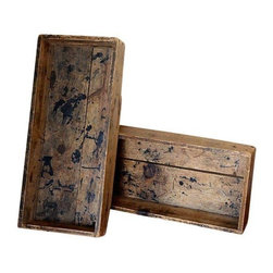 Used Vintage Shoe Factory Boxes - A Pair - This pair of shoe factory boxes is rustic and charming. Use them in the bathroom, kitchen, or home office to stay organized in style!