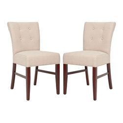 Safavieh - Safavieh Trevor Side Chair X-2TES-A8254RCM - Classic styling of the Trevor side chair, where beige linen fabric is paired with mahogany finish on legs and the backrest is dressed with four button tufts, will make it a dining staple.