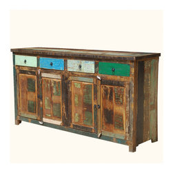 """Appalachian Rustic Multi-Color Old Wood 73"""" Buffet Cabinet - Reclaimed wood furniture makes a statement of comfort and eco-responsibility."""