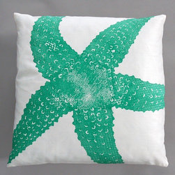 "Dermond Peterson - Starfish Turquoise Pillow on White Linen - Bright, playful, and fun! Dermond Peterson pillows are a chic and sophisticated way to add a piece of art to your living room or bedroom. Features: -Color: Turquoise and White Linen. -Each pillow is made to order. -Hand block printed on natural linen using water based ink. -Feather and down insert. -Pillowcase is machine washable. -Machine wash cold on gentle cycle. -Made in Milwaukee, WI. -Overall dimensions: 20"" H x 20"" W x 4"" D."