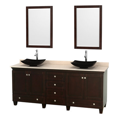 "Wyndham Collection - 80"" Acclaim Double Vanity w/ Ivory Marble Countertop & Arista Black Granite Sink - Sublimely linking traditional and modern design aesthetics, and part of the exclusive Wyndham Collection Designer Series by Christopher Grubb, the Acclaim Vanity is at home in almost every bathroom decor. This solid oak vanity blends the simple lines of traditional design with modern elements like beautiful overmount sinks and brushed chrome hardware, resulting in a timeless piece of bathroom furniture. The Acclaim comes with a White Carrera or Ivory marble counter, a choice of sinks, and matching mirrors. Featuring soft close door hinges and drawer glides, you'll never hear a noisy door again! Meticulously finished with brushed chrome hardware, the attention to detail on this beautiful vanity is second to none and is sure to be envy of your friends and neighbors"