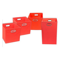 Bold Solid Red Organization Bundle- 3 Storage Bins, 1 Laundry Hamper