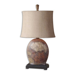 Billy Moon - Billy Moon Yunu Transitional Table Lamp X-1-89972 - Heavily distressed rusty brown with aged ivory details and burnished accents. The oval semi drum shade is oatmeal linen textile with natural slubbing.