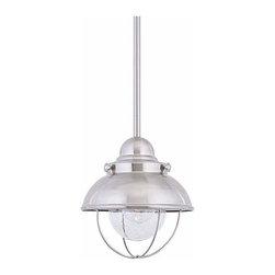 Sea Gull Lighting - 1-Light Mini-Pendant Brushed Stainless - 6150-98 Sea Gull Lighting Sebring 1-Light Outdoor Mini-Pendant with a Brushed Stainless Finish
