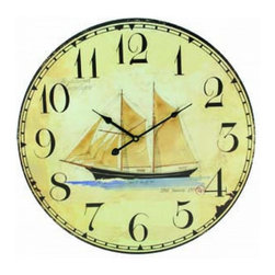 Handcrafted Nautical Decor - Wooden Vintage Schooner Clock 23'' - Lose    track of time in this idyllic coastal scene Wooden Vintage Schooner Clock 23''.  Featuring a sailboat next to the  sea. This  Wooden Vintage Schooner Clock 23'' will  let you take a   little vacation each time you glance at the time. This lighthearted timepiece perfectly suits any beach decor, sailing or beach house theme.--23'' Long x 1'' Wide x 23'' High----    Displays a majestic schooner in center of the clock--    --    Excellent sailing boat decoration--    Perfect for any kitchen, den or sunroom--    Clock requires one AA battery (not included)--