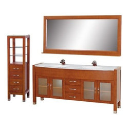 """Wyndham Collection(R) - Daytona 71"""" Double Bathroom Vanity Set by Wyndham Collection - Cherry w/ Drawers - The Daytona 71"""" Double Bathroom Vanity Set - a modern classic with elegant, contemporary lines. This beautiful centerpiece, made in solid, eco-friendly zero emissions wood, comes complete with mirror and choice of counter for any decor. From fully extending drawer glides and soft-close doors to the 3/4"""" glass, marble, or man-made stone counter, quality comes first, like all Wyndham Collection products. Doors are made with fully framed glass inserts, and back paneling is standard. Available in gorgeous contemporary Cherry or rich, warm Espresso (a true Espresso that's not almost black to cover inferior wood imperfections). Transform your bathroom into a talking point with this Wyndham Collection original design, only available in limited numbers. All counters are pre-drilled for single-hole faucets, but stone counters may have additional holes drilled on-site. Available in additional sizes, finishes and counter options. Features Constructed of solid, environmentally friendly, zero emissions wood, engineered to prevent warping and last a lifetime Includes single-hole or widespread 3-hole faucet mount Includes drain assembly and P-trap Includes mirror and side cabinet Please note that backsplashes MUST be ordered at the same time as the vanity and counter. They cannot be shipped as separate items. Minor shade variations are possible between countertop and backsplash. In the unlikely event that a backsplash arrives damaged you will be given a full refund for the backsplash but it can not be replaced due to the likelihood of breakage. How to handle your counter Spec Sheet Installation Guide for Vanity Spec Sheet for WC-K-W045 Natural stone like marble and granite, while otherwise durable, are vulnerable to staining from hair dye, ink, tea, coffee, oily materials such as hand cream or milk, and can be etched by acidic substances such as alcohol and soft drinks. Pleas"""