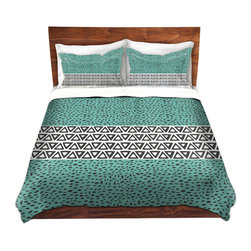 DiaNoche Designs - Duvet Cover Microfiber by Pom Graphic Design - River Aqua Path - Super lightweight and extremely soft Premium Microfiber Duvet Cover in sizes Twin, Queen, King.  This duvet is designed to wash upon arrival for maximum softness.   Each duvet starts by looming the fabric and cutting to the size ordered.  The Image is printed and your Duvet Cover is meticulously sewn together with ties in each corner and a hidden zip closure.  All in the USA!!  Poly top with a Cotton Poly underside.  Dye Sublimation printing permanently adheres the ink to the material for long life and durability. Printed top, cream colored bottom, Machine Washable, Product may vary slightly from image.