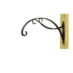 "Bel Casa Scroll Hanging Basket Bracket - Add style and grace to your hanging baskets with this specially designed steel scroll bracket. It is powder-coated black and will hold a 12"" diameter or larger hanging basket."