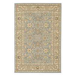 """Karastan - Sierra Mar Capri Robin's Egg Oriental 3'3"""" x 5'6"""" Karastan Rug (33008) - Comfortable, weathered, easy to live with color, is the signature style of the Sierra Mar collection, with relaxed patterns that complement both traditional and modern design. Woven in the U.S.A., the pure New Zealand worsted wool yarns have been specially twisted and space-dyed to create artful color 'stria' reminiscent of fine hand woven 'Peshawar' rugs."""