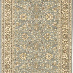 "Karastan - Sierra Mar Capri Robin's Egg Oriental 3'3"" x 5'6"" Karastan Rug (33008) - Comfortable, weathered, easy to live with color, is the signature style of the Sierra Mar collection, with relaxed patterns that complement both traditional and modern design. Woven in the U.S.A., the pure New Zealand worsted wool yarns have been specially twisted and space-dyed to create artful color 'stria' reminiscent of fine hand woven 'Peshawar' rugs."