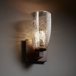 Justice Design Group - Fusion Modular Dark Bronze Wall Sconce - - 1-Light Wall Sconce. Material Used: Glass and Metal. This fixture can be installed as an uplight or downlight.  - Shade Detail - Mercury  - Shade Material - Artisan Glass Justice Design Group - FSN892128MRORDB