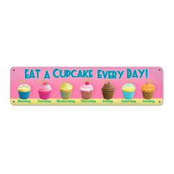Past Time Signs - Cupcake Everyday Vintage Metal Sign - This vintage metal sign is hand made with pride in the USA using heavy gauge American steel. The high-resolution graphics are sublimated and powdercoated for a long-lasting durable finish and a great vintage look & feel. It's perfect for your %customfield:genre% Man Cave, Game Room, Office, or anywhere you want to show love for your favorite things.