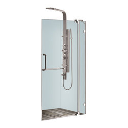 Vigo - 42in.  Frameless Shower Door 3/8in.  Clear Glass Chrome Hardware - Experience fine quality combined with superior design in a VIGO frameless shower door.
