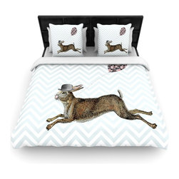 """Kess InHouse - Suzanne Carter """"Hare Today"""" Rabbit Woven Duvet Cover (King, 104"""" x 88"""") - Add a splash of artistically inclined comfort to the average down comforter with a large focus to your bed! Our duvet cover is made of a beautifully crafted woven polyester fabric on top and a comforting and soft cotton/poly blend on bottom! We highly recommend washing your artwork before laying it onto your bed for added comfort and softness! These are totally machine washable and won't fade!�"""