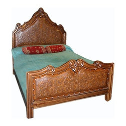 "New World Trading - Elizabeth Panel Bed - Features: -Tropical hardwood.-Saddle leather.-Original colonial design.-Reviving an ancient art.-Made one at a time by Artisans.-Finish: Rustic.-Durable wood frame with hand tooled leather accents.-Rustic brown wood and leather with nailhead accents.-Distressed: Yes.Dimensions: -Queen: 74"" H x 60"" W x 80"" D.-King: 74"" H x 76"" W x 80"" D.-Overall Product Weight: 195 lbs."