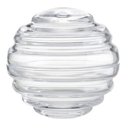 Venus Large Clear Jar - Glass jar disguises as a shapely rippled orb, playing optics with guest soaps, jewelry or sundries contained within.