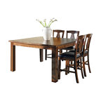 Steve Silver Co. - Lakewood 5-Pc Counter Height Dining Set - Includes table and four counter chairs. Bench not included. Contemporary style. One 20 in. leaf. Corner block construction. Tongue and groove joints. Brown vinyl tufted chair seat upholstery. Wrapped legs. Rich cherry finish. Made in Vietnam. Seat height: 24 in.. Counter chair: 22 in. W x 19 in. D x 45 in. H (25.25 lbs.). Table minimum: 60 in. L x 40 in. W x 36 in. H (109.5 lbs.). Table maximum: 60 in. L x 60 in. W x 36 in. H