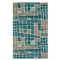"Loloi Rugs - Loloi Rugs Nova Collection, Teal and Grey, 3'-6""x5'-6"" - Created in collaboration with Kris Ruff, the Nova Collection celebrates Kris' penchant for bright colors and graphic motifs with 9 hand-tufted 100% wool rugs from India.The bold designs lend themselves best to contemporary interiors looking for a punch of color."