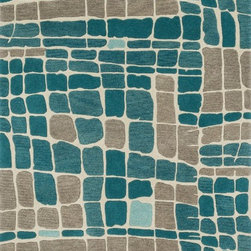 "Loloi Rugs - Loloi Rugs Nova Collection - Teal/Grey, 3'-6"" x 5'-6"" - Created in collaboration with Kris Ruff, the Nova Collection celebrates Kris' penchant for bright colors and graphic motifs with 9 hand-tufted 100% wool rugs from India.The bold designs lend themselves best to contemporary interiors looking for a punch of color."