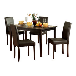 Homelegance - Homelegance Dover 5-Piece Rectangular Dining Room Set in Espresso - Chocolate bi-cast vinyl chairs compliment an Espresso finished table in the transitional Dover collection . This cleanly designed set seats four, making it a perfect addition to you casual dining space.