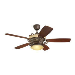 Montecarlo - Montecarlo Strasburg Ceiling Fan in Tuscan Bronze - Montecarlo Strasburg Model 5SBR56TBD in Tuscan Bronze with Mahogany Veneer Finished Blades. IS finish comes with Irish Slate Glass. RB - TB - and SO finishes comes with Tea Stain Mission Glass. BR finish comes with Champagne Scavo Glass.