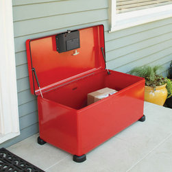 Landport Designer Lockbox - This Landport Deluxe Rectangle Lockbox has plenty of capacity. Safety features include a glow-in-the-dark pull cord and hydraulic struts.
