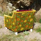 Retro Boho Tufted Floral Chair -