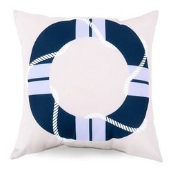 Cobalt Life Presever Outdoor Pillow - The definitive nautical color scheme comes accompanied by a silhouette of a shipboard necessity turned iconic maritime symbol. Waving rope motifs add sleek movement to the look of the Cobalt Life Preserver Outdoor Pillow, whose smooth, neatly-turned cover is made from a durable polyester fabric that will stand up to wet clothing and seaside sun.