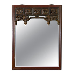 Consigned Carved Chinese Mirror - This Chinese mirror from the 19th century is a stunning example of craftsmanship from an age past. Detailed hand-carved camphor, this antique mirror will make your entryway stately.