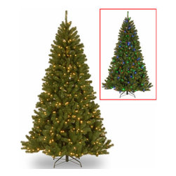 7 1/2 Ft. North Valley Spruce Christmas Tree with 550 Dual Color LEDs - Measures 7.5 feet tall with 52 inch diameter. Pre-lit with 550 UL listed, pre-strung Dual-Color Low-Voltage LED lights. Lights change from warm white to multicolor with the press of a foot switch. Switch controls 9 light and color actions. LED bulbs are energy-efficient and long lasting. Tip count: 1346. All metal hinged construction (branches are attached to center pole sections). Comes in three sections for quick and easy set-up. Includes sturdy folding metal tree stand. Light string features BULB-LOCK to keep bulbs from falling out. Fire-resistant and non-allergenic. Includes spare bulbs. 5-year tree warranty / 3-year lights warranty. Packed in reusable storage carton. Assembly instructions included.