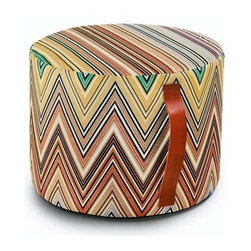"""Missoni Home - Kew Cylindrical Pouf 16"""" - Fun and versatile, everyone needs more of those and this pouf fits the bill! Features: -The Kew Collection. -Available in all Kew chevron fabrics. -Removable cover. -Patent leather handle. -Base: fabric eucla. -Material: 61% Cotton - 29% Polyester - 10% Silk. -Overall Dimensions: 12"""" H x 16"""" W."""