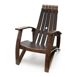 UPCYCLED WINE BARREL CHAIR - This smart chair is perfect for sipping your favorite wine. It's beautiful AND environmentally friendly, because it's made with used wine barrel staves.