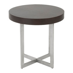 Euro Style - Oliver Side Table - Wenge/Brushed Stainless Steel - This is a very space efficient workstation. Epoxy coated steel in either a graphite/smoked look or in bright aluminum and frosted glass the L desk has room for all the necessities and all the niceties that make it comfortable, functional and space saving.
