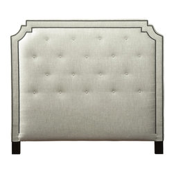 Kathy Kuo Home - Miller Hollywood Regency Fawn Upholstered King Headboard - Create a calm, comforting oasis with this luxurious, linen-upholstered headboard. The tufted headboard has an arched, architectural shape, finished with nickel nail head trim. Polished, espresso wood legs add dramatic detail to this elegant piece. The soft, natural fabric enhances an inviting silhouette for a stunning centerpiece in any romantic retreat.