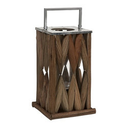 iMax - Santiago Wooden Lantern - Large - Beautifully constructed tanoak pieces form the walls of the Santiago lantern creating a soft natural glow, while the metal top and handle make it safe for candles.