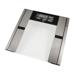 """American Weigh Scales - Body Composition Scale Stainless steel - Body composition scale 396lb with capacity 0.2lb graduation uses BIA technology to monitor body weight fat water muscle and bone 8 user memory glass and stainless platform platform size 12.6""""x12.9"""" large back-lit LCD display (1.9""""x5"""") 10 year warranty 4-AAA batteries included"""