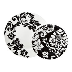 Damask 16-pc. Dinnerware Set, Black/ White