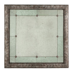"Kathy Kuo Home - French Country Antique Gray Bilzen Large 48"" Square Rosette Mirror - By pure scale of size, the Bilzen Mirror is stunning with an Aged Grey finish and distressed mirror accented by small medallions."
