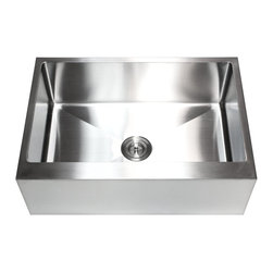 Ariel - 30 Inch Stainless Steel Flat Front Farm Apron Single Bowl Kitchen Sink - Product Features: