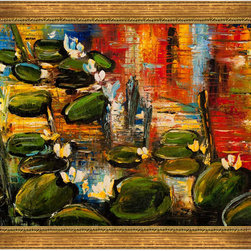 """overstockArt.com - Kopania - Water Lilies Oil Painting - 24"""" x 36"""" Oil Painting On Canvas Water Lilies is a beautiful painting by Justyna Kopania of a popular floral motif made famous by Monet, the water lilies. Enjoy the beauty and color reproduced as a fine canvas hand painting. Justyna Kopania is from Warszawa, Poland. In her words when she paints she tries to show the 'world', which could be seen by looking at reality that surrounds us, from another perspective, unusual, remote, sometimes through the eyes of the child, sometimes music, composer, or someone who looks lichen on the sea, the moon , the sky and the stars ..., the river ... looks out the window and looks out into the street. Walking down the street looking at people's faces. In rain, snow or fog. Perhaps the world that surrounds us really is quite different than we perceive it every day."""
